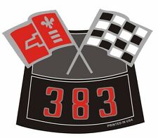 383 FLAGS CHROME AIR CLEANER DECAL CHEVY TRUCK CAMARO CHEVELLE NOVA NEW PRODUCT