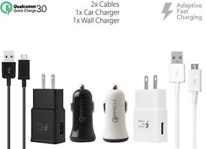 Adaptive Fast QC 3.0 Car+2.0A Fast Home Charger with 2 x Micro USB Cables for LG