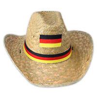 Cooler Sonnenhut aus Stroh für die Fussball-EM 2016 mit Deutschlandflagge unisex