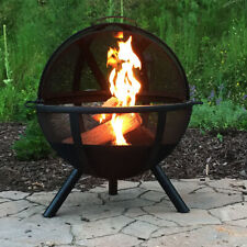 """Sunnydaze 30"""" Fire Pit Black Steel Flaming Ball with Protective Cover and Poker"""