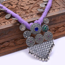 Indian Traditional Necklace Purple Silk Thread With Coins Silver Antique Jewelry