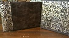 Western Leather Office Set 7 Ring Checkbook Amp 3 Ring Binder Chocolate Amp Gold