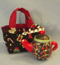 Mary Engelbreit Teapot Ornament Black w/ Red Cherries & Handmade Gift Bag