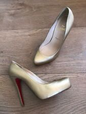 CHRISTIAN LOUBOUTIN Gold 100% Leather 5inch High Heel Pumps Size 5UK 38 Red Sole
