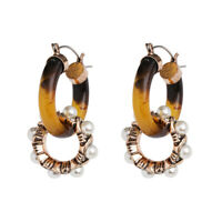 Earrings Sleeper Golden Two Circle Pattern Tortoiseshell Tortoise Pearl XX38