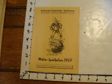 Vintage MARIONETTE Paper: 1957 munich marionettenbuhne, MARZ SPIELPLAN
