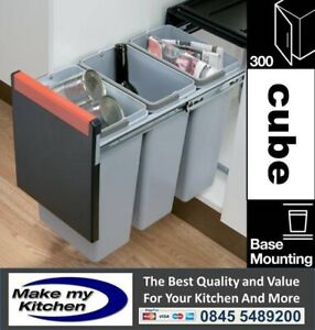 Cube 30ltr Double Pull Out Kitchen Recycling Waste Bin 3 x 10ltr -For 300mm Unit