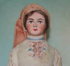 Vintage Artisan Doll Belgium Woman Clay/Cloth Ethnic Outfit Kimport label 1940's