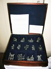 13 Piece Set Of Franklin Mint Fine Pewter Colonial Figures Wood Display Case
