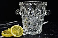 Vintage Clear Pressed Glass Bar Ice Bucket Star of David, Sunburst Design Bowl