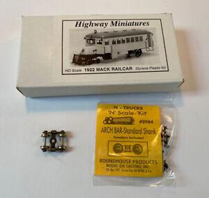 Jordan Highway Miniatures HO HOn3 HOn30 #305 1922 Mack Railcar Kit with Trucks