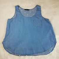 Velvet Heart Pop Over Sleeveless Tencel Chambray Blue Top White Polka Dots Back