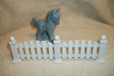 """Vintage Blue Horse Figurine with Metal Fence - Horse 2 3/4"""" Tall"""