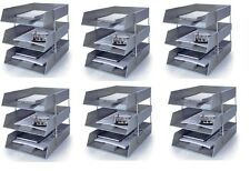 18 GREY A4 Letter Filing In Out Desk Trays + 12 Risers Stacking Paper Office