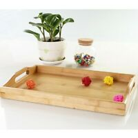 Bamboo Wooden Serving Tray With Handles Food  Table Bamboo Trays Rectangular