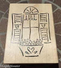 Window Flowerbox Shutter Wood Mounted Rubber Stamp