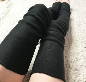 Black Fleece Thigh Highs Leg Warmers Long Knee Socks Boots Thermal Leggings Warm