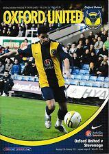 Football Programme>OXFORD UNITED v STEVENAGE Feb 2011