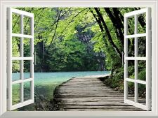 Window Looking Out Into a Bridge by a Lake Surrounded by Trees-Wall Mural- 24x32