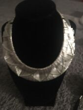 Fantastic Silver Tone Dangling Panels  Runway Necklace 17""