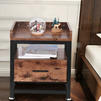 Wood 2 Tier Bedside End Table w/Drawers Organizer Bedroom Nightstand Steel Frame