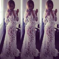 UK 8-20 Women Lace Sheer V Neck Plunge Club Holiday Prom Wedding Long Maxi Dress