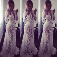 UK 8-20 Women Lace Sheer V Neck Plunge Club Holiday Prom Wedding Long Maxi Dress
