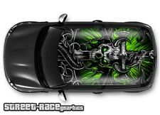 306 Car roof wrap printed sticker - Mini Demon skull - will fit other cars
