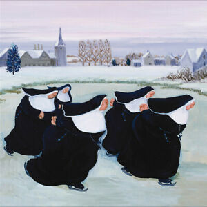 5 Ice Skating Nuns Christmas Cards - Charity Xmas Cards Made in the UK
