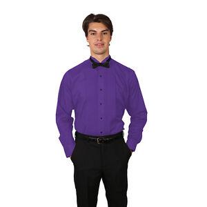 Tuxedo Purple Shirt With Wing Tip Collar