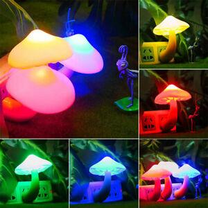 Energy Colorful Saving Mushroom LED Night Light Sensor Control Lamp Bedside Wall