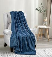Chevron Jacquard Braided Soft Polyester Throw Blanket Cover - Blue