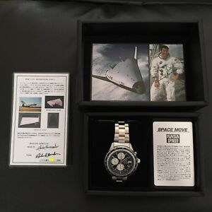 NOS Seiko NASA SPINOFF Space Move Limited to 500 Space shuttle tile dial Black