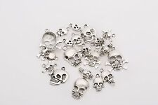 Lots Mixed 40pcs Tibetan Silver Skull Charms Pendant Jewelry Making Findings DIY