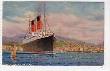 A CUNARDER AT PATRAS: Cunard Line shipping postcard (C16507)
