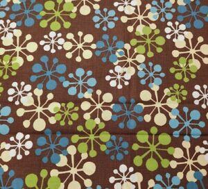 1 yd Jingle Bell Snowmen Wilmington Prints Mod Snowflake Green Blue Brown