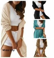 Womens UK Loose Cardigans Oversized Daily Plus size Knitted Skinny chunky