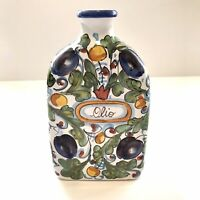 """Cottura Hand Painted Made In Italy 8"""" Ceramic Pottery Olive Oil Bottle With Tag"""