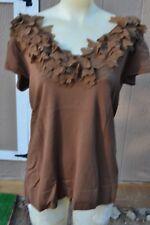 One 7 Six X Large Brown V Neck Flower Appliqué Top