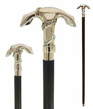 Ship Anchor Walking Stick Silver Colour Handle Foldable Wooden Solid Brass Cane