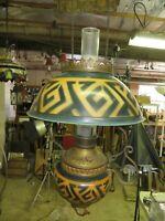 ANTIQUE FANCY HANGING DECO KEROSENE LAMP  C1920'S
