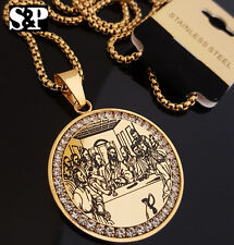 "Gold Stainless Steel Jesus Last Supper CZ Pendant & 24"" Round Box Chain Necklace"