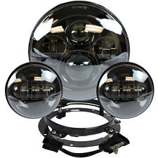 """7"""" Black LED Projector Daymaker Headlight + Passing Lights For Harley Touring BL"""