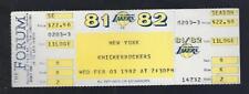 1981-82 NBA NEW YORK KNICKS @ LA LAKERS FULL UNUSED BASKETBALL TICKET - MAGIC