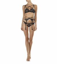 AGENT PROVOCATEUR BLACK JET CAGE BRA 34A/B/C 36A/B BRA THONG SIZE 4 LARGE BNWT