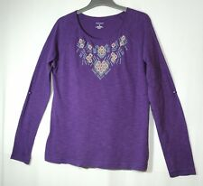 PURPLE LADIES CASUAL TOP BLOUSE EMBROIDERED BEADED TOP SIZE M SONOMA