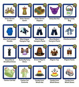 PICK THREE - Webkinz Virtual Halloween Costumes, Holiday Clothing
