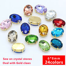 30p 6x8mm oval faceted glass sew on crystal rhinestones Dress beads gold setting