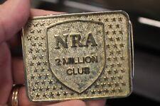 Vintage Nra 2 Million Club Gold Tone Belt Buckle L@K