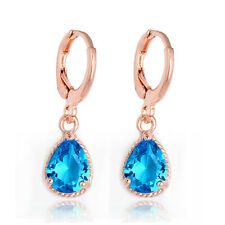 Muilti-color 18K Yellow Gold Plated Water Drop Zircon Crystal Stud Hoop Earring